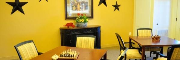 game room at memory care facility