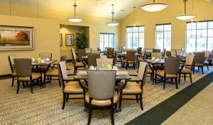Dining room design at senior home