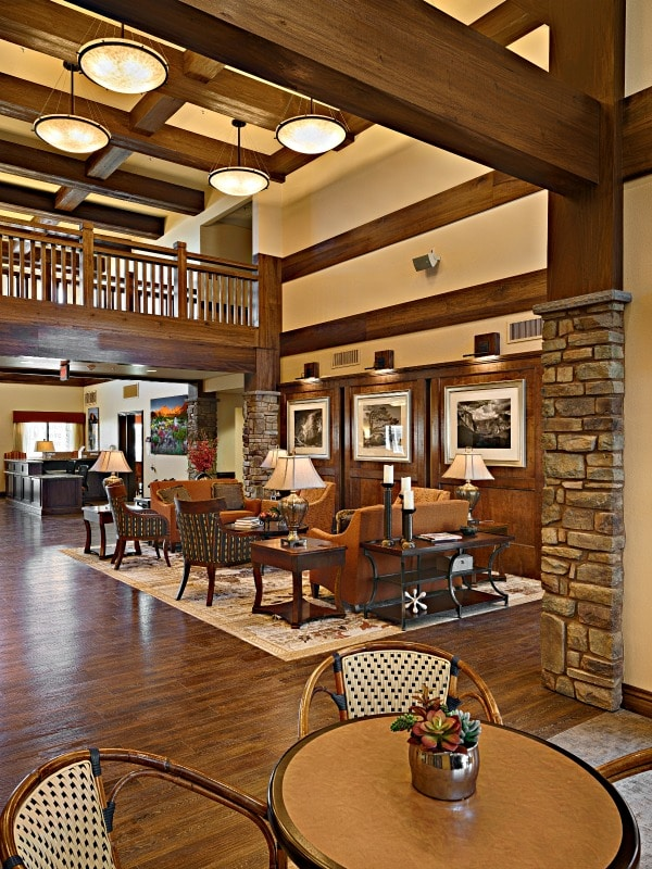 interior designed bistro dining area for assisted living center