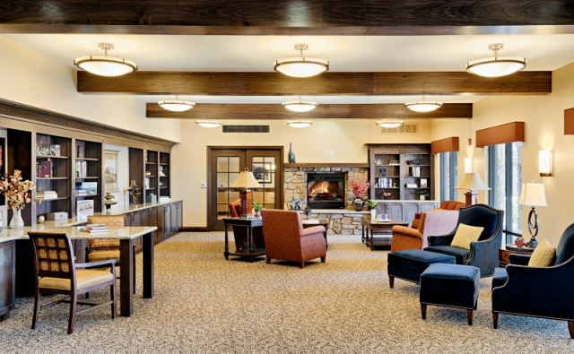 living room furniture and decor at memory care facility