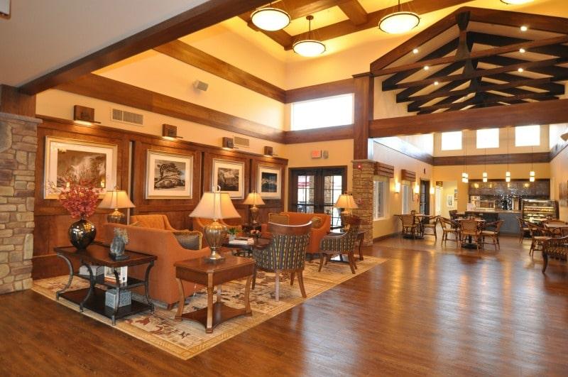 Lobby sitting area at Paintbrush senior living facility