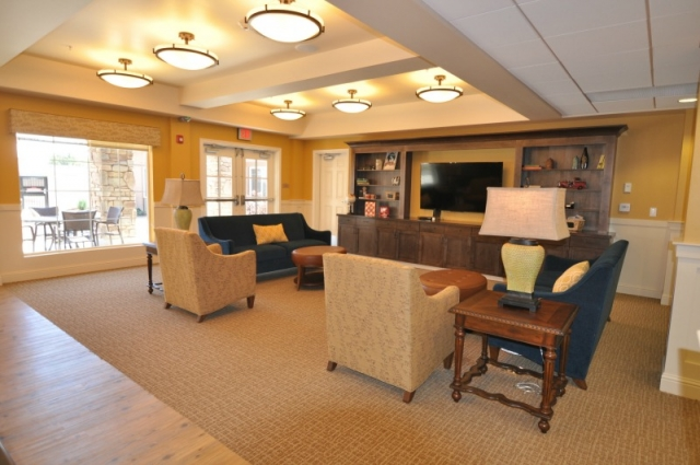 the interior design and decor for a memory care lounge