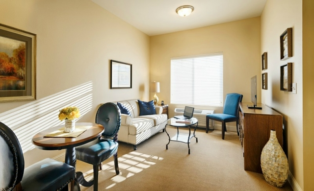 private apartment living room at assisted living facility