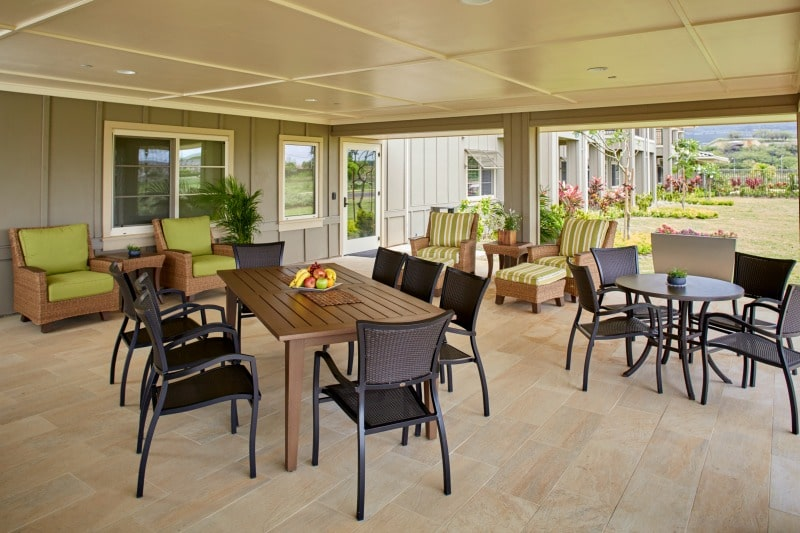 Outdoor dining and living area at senior living community
