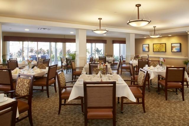 Formal dining room interior design at 'Ilima at Leihano Senior Living