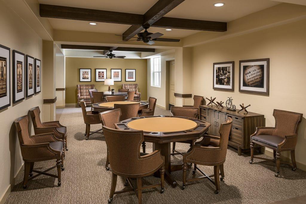 Poker and Game room for senior living residents.