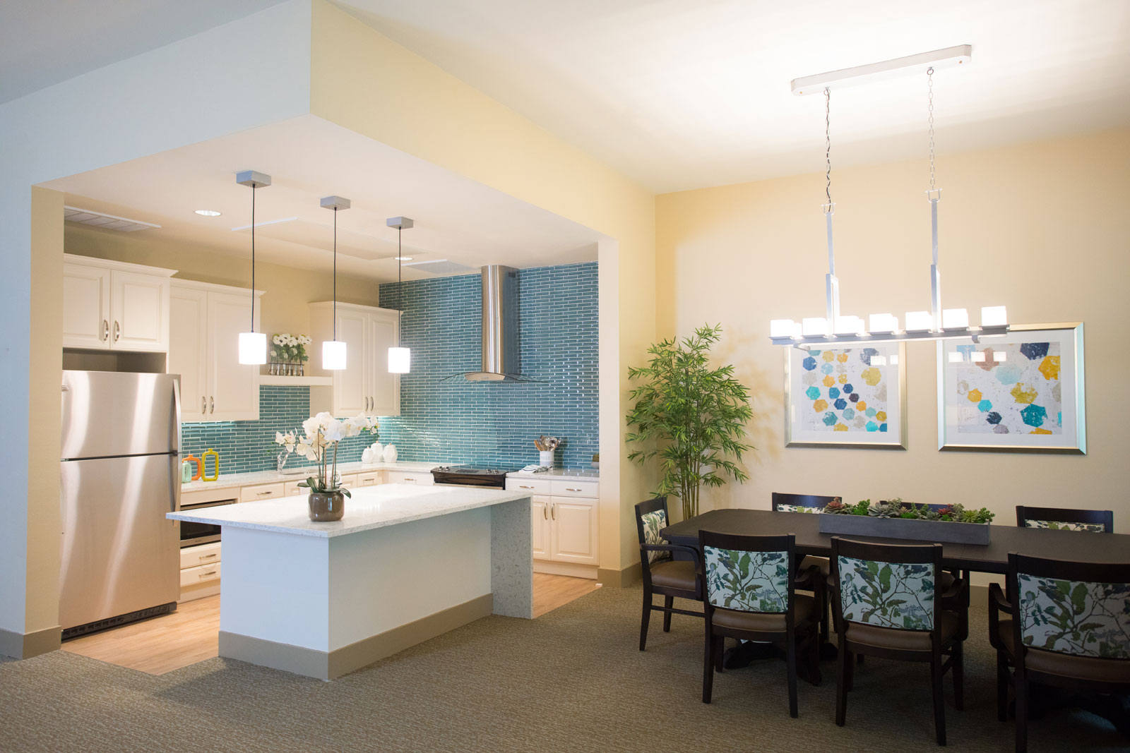 A luxe, modern, contemporary designed kitchen at a senior living community
