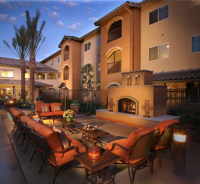 Outdoor living area and furniture at senior living community
