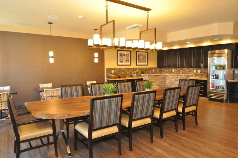 Interior design dining table at senior living facility