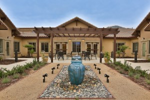Outdoor garden landscape at senior living facility