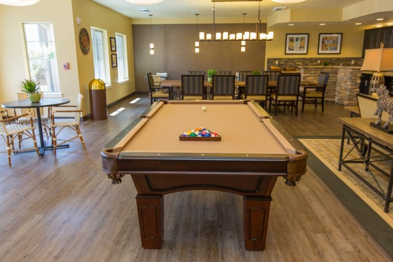 Pool table at independent living facility