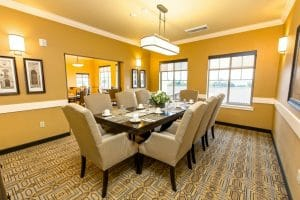 Assisted living center with a private dining room for residents