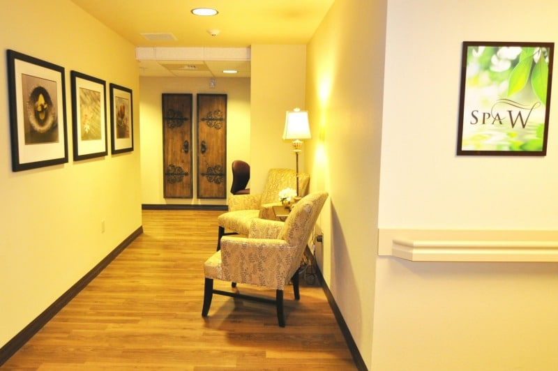 bright, beautiful hallway in a senior living community