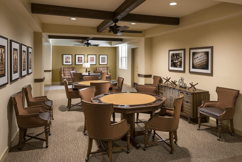 Poker and Game room for senior living residents.