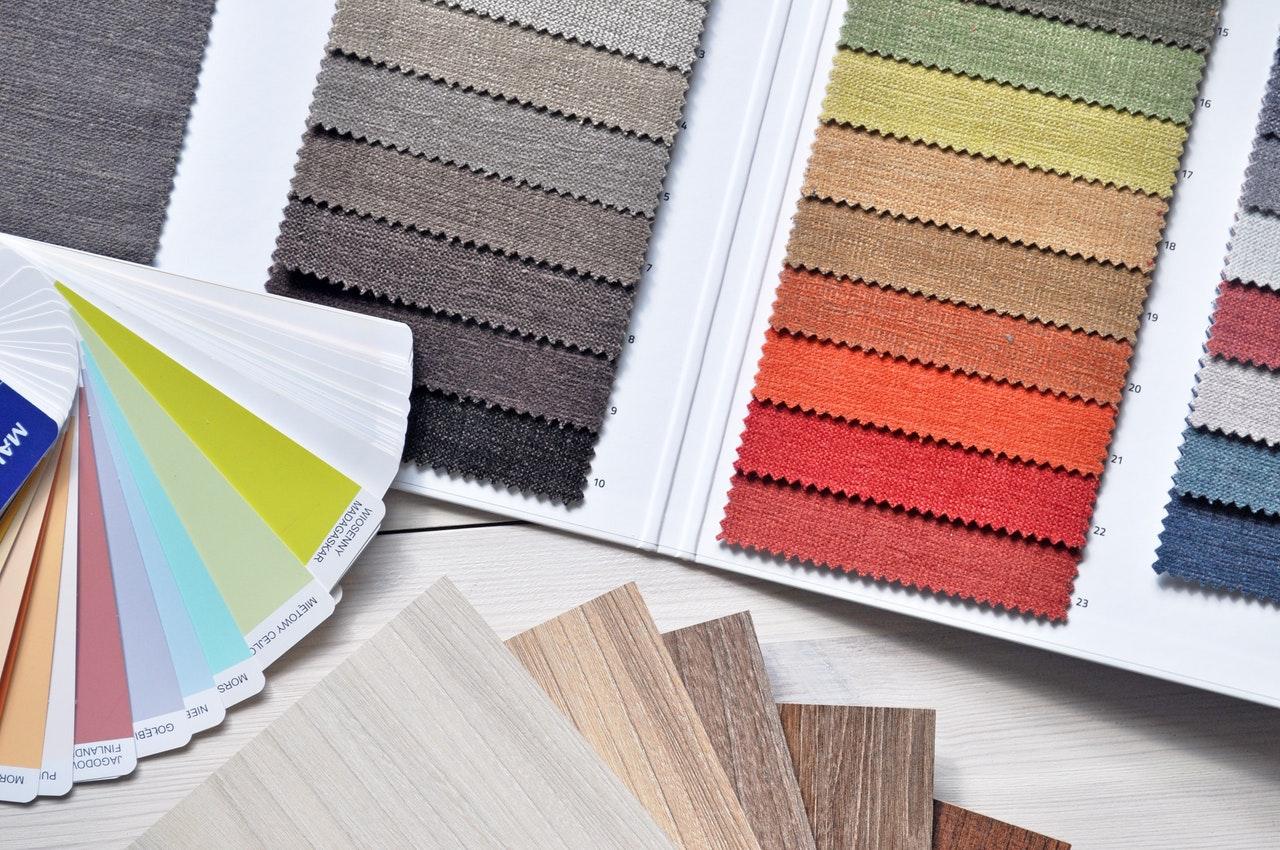 interior design fabric swatches, flooring, paint colors
