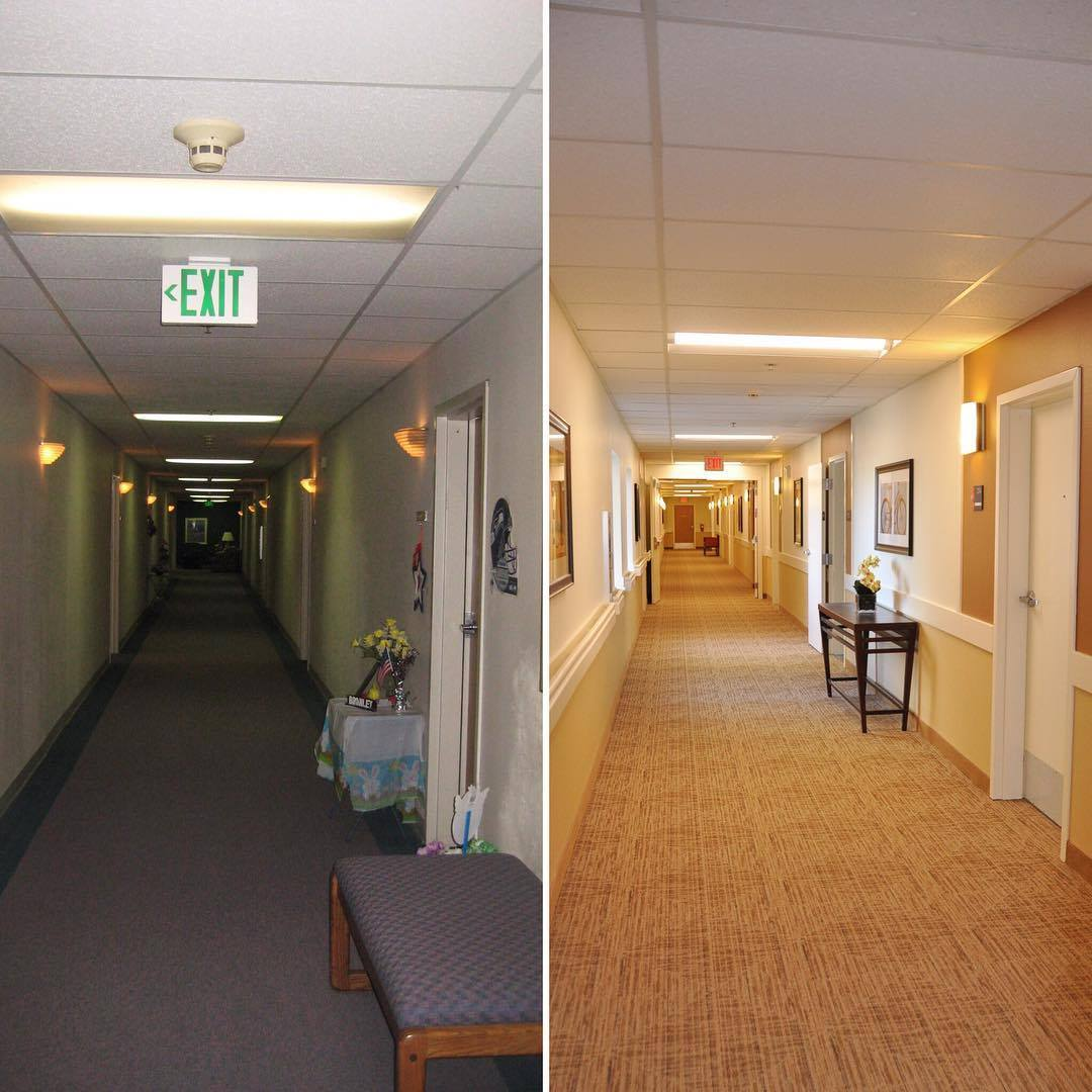 Before and After of a senior living community remodel