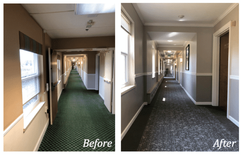 Before and after pictures of a hallway in a senior living community before & after interior design renovations