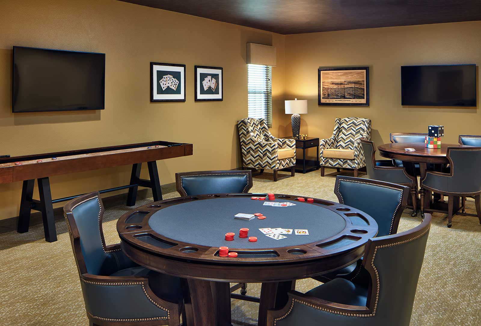 Poker Table Common Room at Senior Living Community