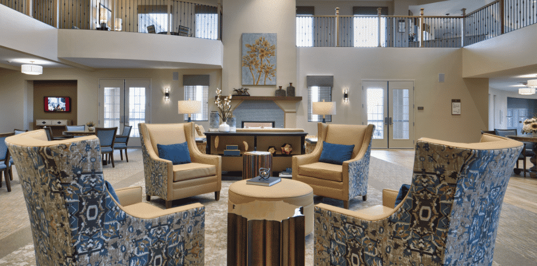 Interior Design of Lobby of Sienna at Otay Ranch Senior Living Community